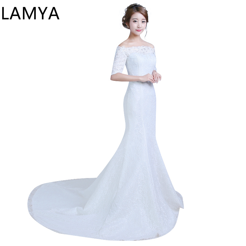Lace Mermaid Wedding Dress Plus Size Half Sleeves Sexy Lace Gown Real Images Vintage Dresses Wedding Dresses Free Shipping