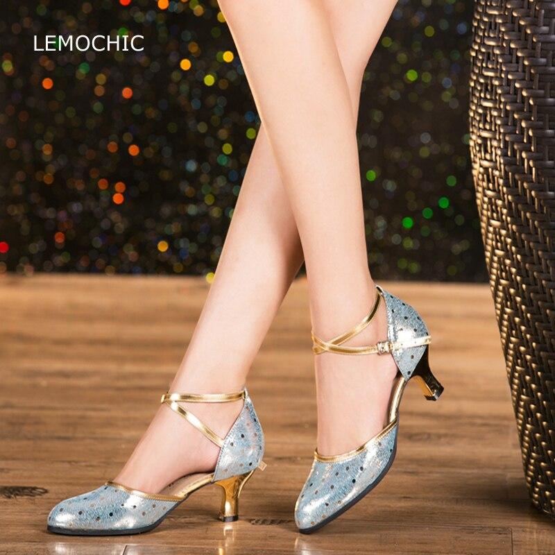 LEMOCHIC hot sale adult female models double steps latin tango comfortable good quality kitten heels professional dancing shoes