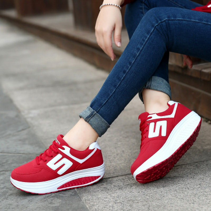 Women Sneakers shoes 2019 basket Breathable Mesh Lace Up Platforms Shoes Height Increasing Rocking Shoes Sports Wedge CasualWomen Sneakers shoes 2019 basket Breathable Mesh Lace Up Platforms Shoes Height Increasing Rocking Shoes Sports Wedge Casual