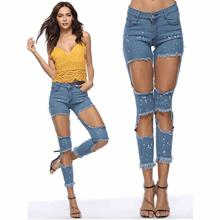 Spring Summer Blue Bleach Wash Distressed Rock Denim Jeans Women Casual Mid Waist Button Fly Ripped Pants 2018 Skinny Jeans