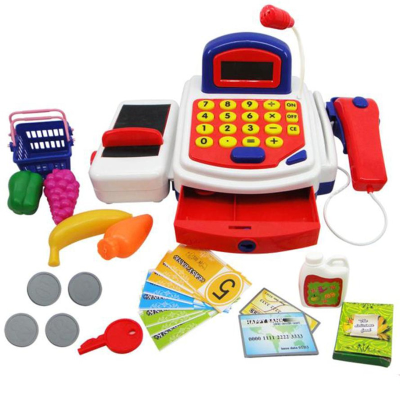 MUQGEW Pretend Play Electronic Simulation Cash Register Cash Register Toy Sounds With Mic toys for girls brinquedos menina