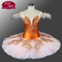 Hot Sale Adult Women Dark Orange Fluffy Professional Tutu Classical Pancake Ballet Costumes Fairy Ballet Tutu Custom LD0077