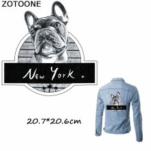 ZOTOONE Cool Fashion NEW YORK Dog Iron on Patches Heat Transfers for Clothes Cartoon Punk Applique Stripes E