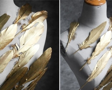 Golden feather decoration wedding accessories diy handmade jewelry stage dress 3pc/lot C625