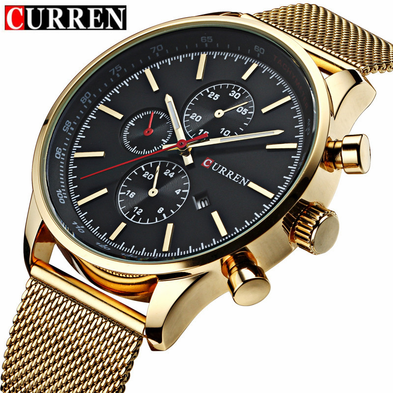 CURREN 8227 Mens Watches Top Brand Luxury Gold Mesh Strap Quartz Watch Men Casual Sport Clock Male Wristwatch Relogio Masculiino mens watch top luxury brand fashion hollow clock male casual sport wristwatch men pirate skull style quartz watch reloj homber