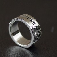 Thailand imported compass 925 Sterling Silver Ring