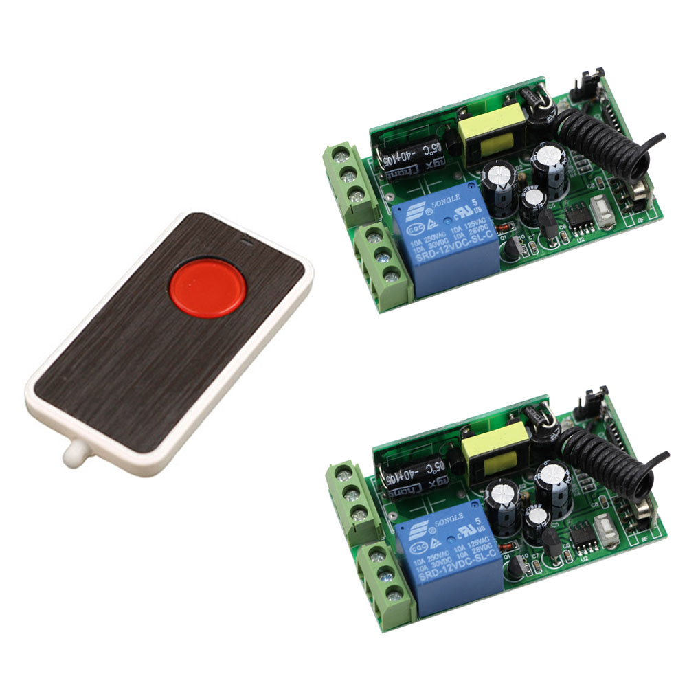 New AC 85V 220V 110V 250V 1CH 10A Radio Controller RF Wireless Remote Control Switch One Button Transmitter and 2pcs Receivers 2 receivers 60 buzzers wireless restaurant buzzer caller table call calling button waiter pager system