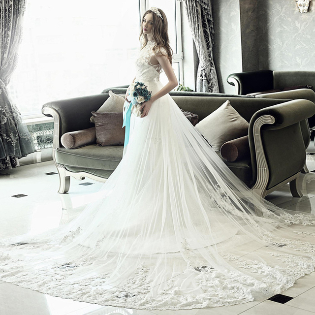 cab0400902 US $93.99  s 2016 New Stock Plus Size Women Pregnant Bridal Gown Wedding  Dress High Collar Long Big Train Tail Tailing Vintage Lace 9222-in Wedding  ...