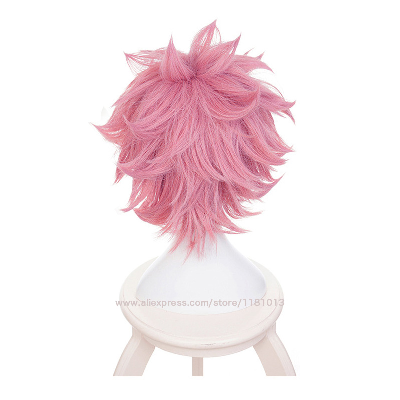 Boku no Hiro Akademia Mina Ashido short wig My Hero Academia Ashido Mina Pink Cosplay Wig Wig Cap in Anime Costumes from Novelty Special Use