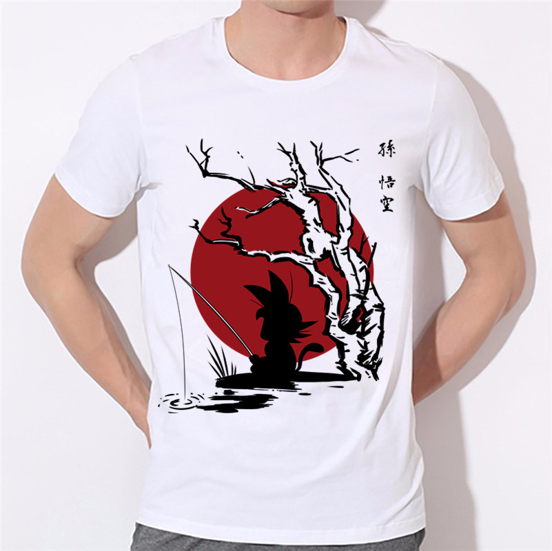 Mens Anime Dragon Ball Z Goku Design Print Graphic Tees Unisex Summer Comic O Neck White T-shirts Men Casual Clothing