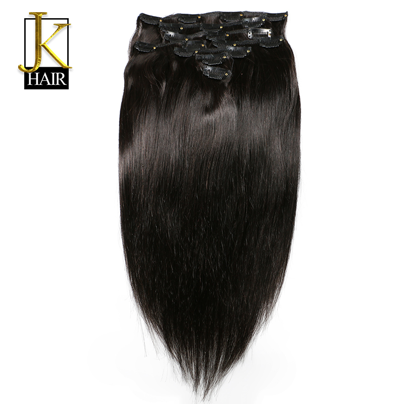 JK Hair Brazilian Remy Straight Hair Clip In Human Hair Extensions Natural Color 8 Pieces/Set Full Head Sets 120G Ship Free