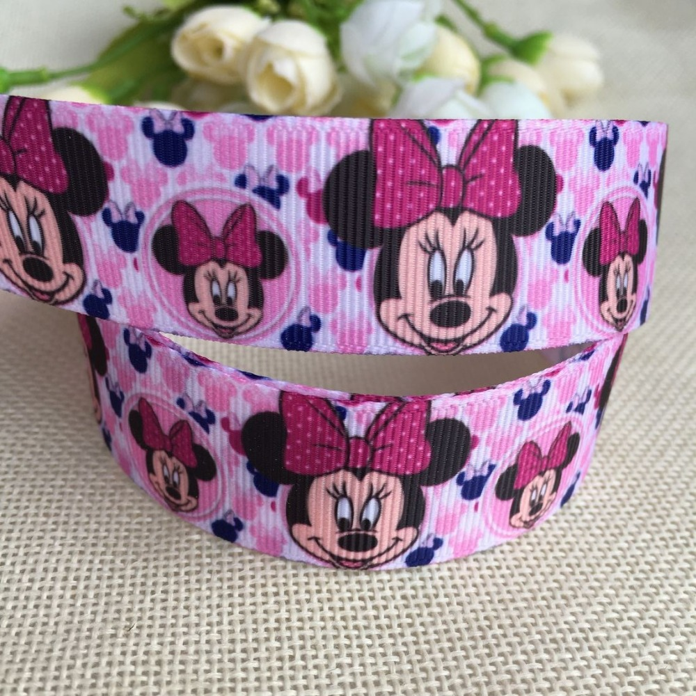 1 25mm New cartoon Bow tie printed grosgrain ribbon hairbow diy party decoration wholesale birthday gift paking gift wrap 0323