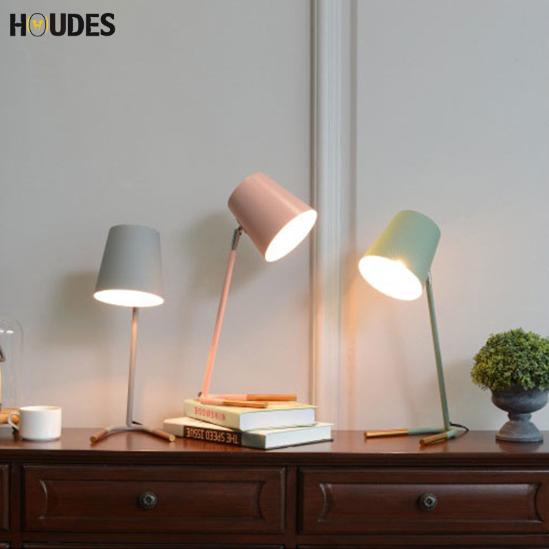 E27 Modern Nordic iron wood table lamp art deco countryside desk lamp LED for study bedroom living room book light squared countryside iron art storage barrel flower implement brown green