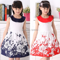 2015 Children Summer Clothing Girls Floral Dress Clothes Baby Sleeveless Casual Princess Dress With Doll Collar