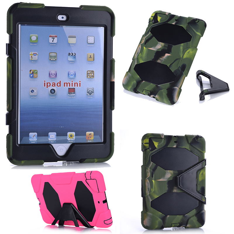 HOT! high quality 3in1 Heavy armor fashion Shockproof Silicone Cover Case For ipad mini 1 mini 2 mini 3 Tablet child case