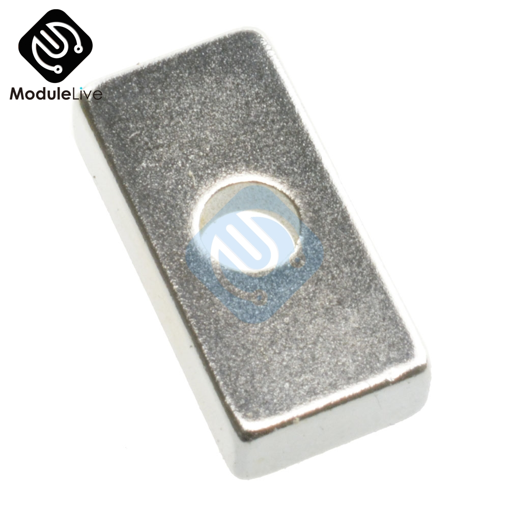 2pcs Super Strong Neodymium Block Magnets Hole Rare Earth N50 Grade 20x10x5mm