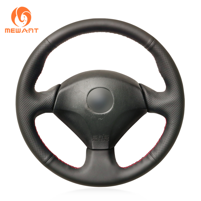 MEWANT Black Genuine Leather Sew Wrap Steering Wheel Cover for Honda S2000 2000 2008 Civic Si