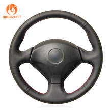 MEWANT Black Genuine Leather Sew Wrap Steering Wheel Cover for Honda S2000 Civic Type R Integra Insight Civic SI Acura RSX 2000-