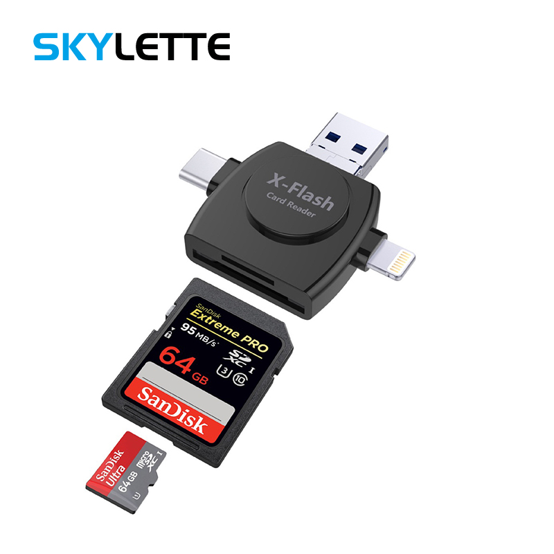 All-in-one SD TF Card Reader Lightning Type-C Micro USB Android Multi-system Compatible Adapter For IPhone Samsung IPad