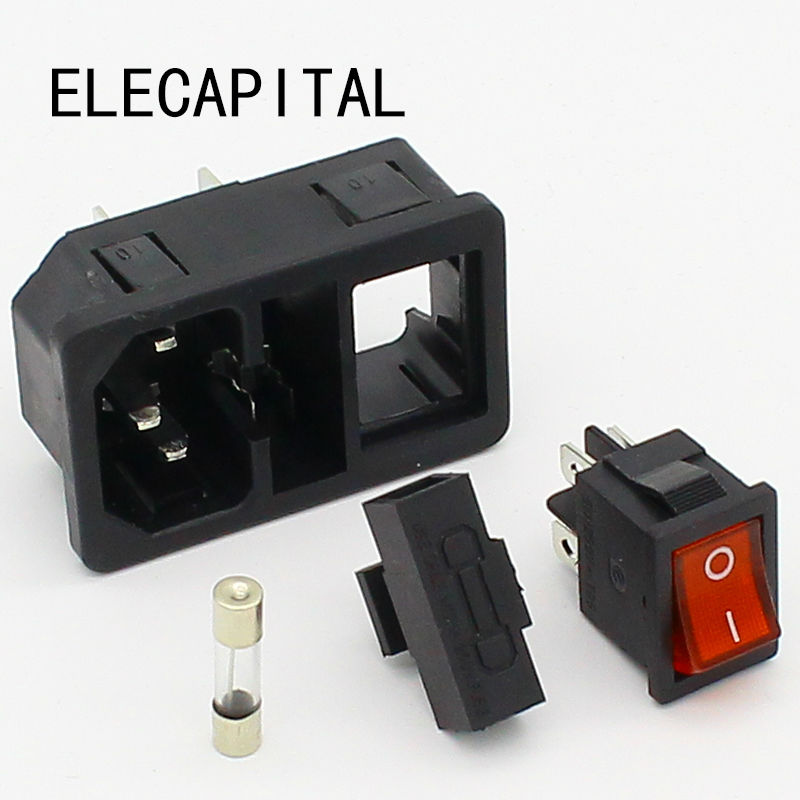 цена на NEW HIGH QUALITY Red Light Power Rocker Switch Fused IEC 320 C14 Inlet Power Socket Fuse Switch Connector Plug 10A 250V B2C