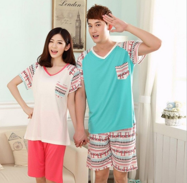 b32c5a6df38c V-neck design green short-sleeved couples summer pajamas Shorts cute outfit  Small commander