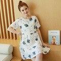 Primavera Vestidos de Verão para As Mulheres Grávidas Vestido de Maternidade Flor branca Impresso Maternidade Roupas Plus Size Roupas de Gravidez