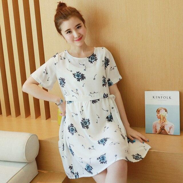 e58cf44e0 White dress primavera verano vestidos para las mujeres embarazadas de  maternidad flor impresa ropa de maternidad