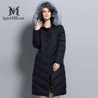Women Winter Down Jacket Long Brand Winter Coat Women Hooded Parka With Natural Fur Collar Silver