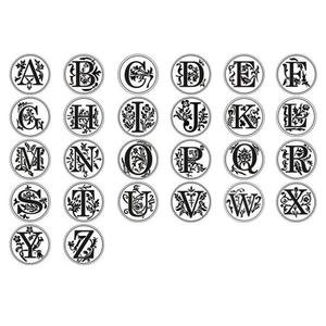 Image 2 - Retro Wax Seal Stamp 26 Letter A   Z  Alphabet Letter Wood Stamp Replace Copper Head Hobby Tools Sets Sealing Wax