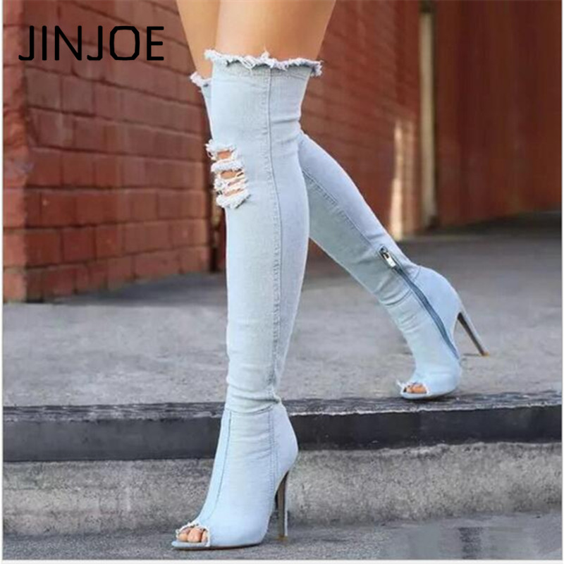 High stretch boots Denim Over The Knee Boots Shoes Woman Thigh High Boots Ripped Distressed Denim Jeans Open Peep Toe Heels color wash ripped distressed moto jeans