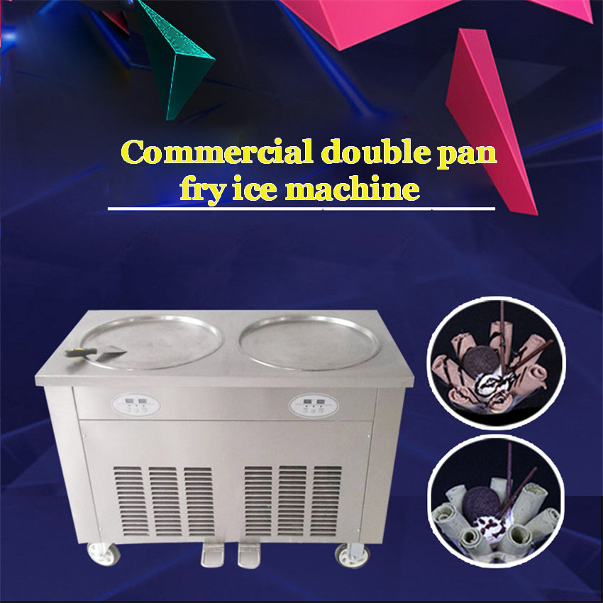 220V 110V fry ice cream machine Stainless steel Commercial double pan fry ice machine HCBJ-450*2 frying ice pan220V 110V fry ice cream machine Stainless steel Commercial double pan fry ice machine HCBJ-450*2 frying ice pan