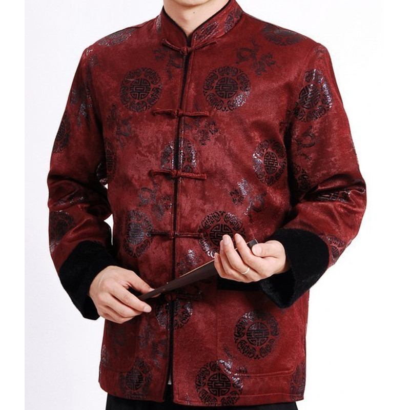 New Arrival Burgundy Men's Polyester Thick Outwear Cotton-padded Jacket Coat Chinese Novelty Tang Suit S M L XL XXL XXXL WN068 adjustable pro safety equestrian horse riding vest eva padded body protector s m l xl xxl for men kids women camping hiking