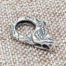 925 Sterling Silver Grande Moschettone con Inciso Foglia per la Collana Del Braccialetto