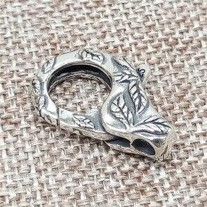 Image 1 - 925 Sterling Silver Grande Moschettone con Inciso Foglia per la Collana Del Braccialetto