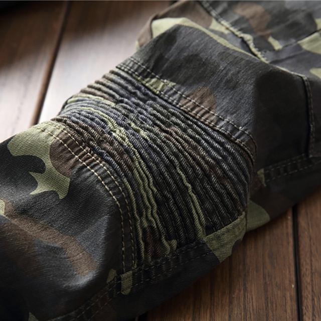 Sokotoo Men's camouflage printed biker jeans for moto Slim fit patchwork pockets denim cargo pants
