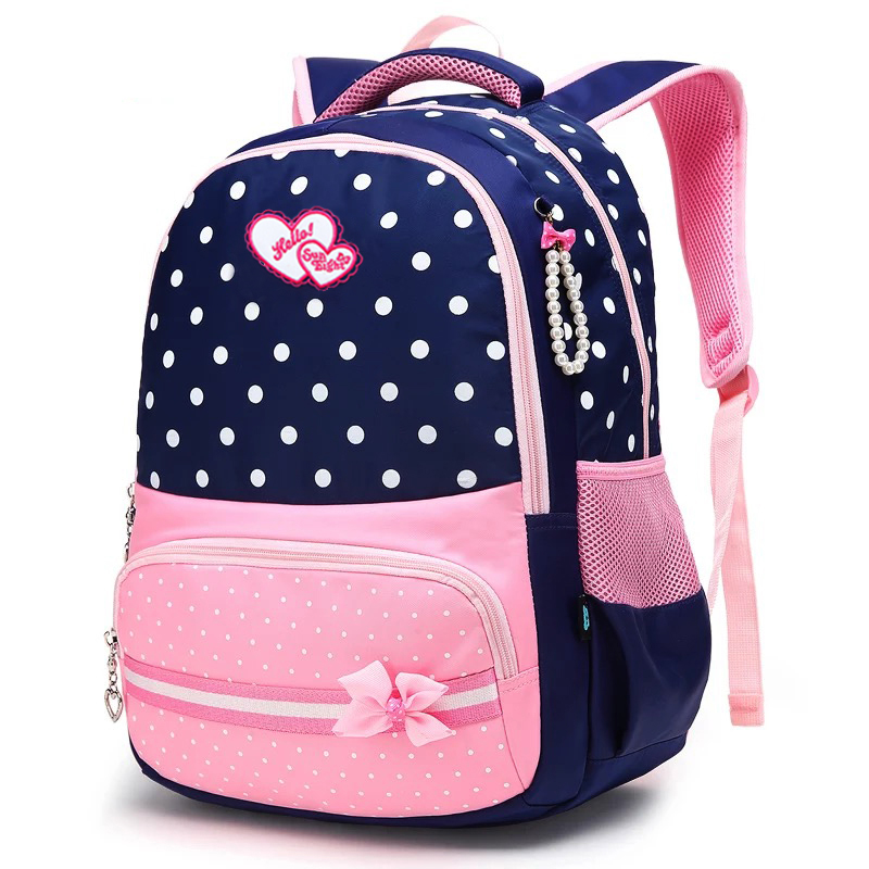 Beautiful Girls Backpack Pink Bow Decorations Waterproof ...