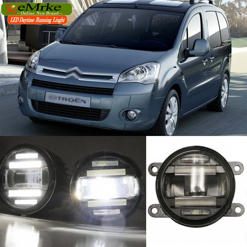 eeMrke Car Styling For Peugeot Partner Citroen Berlingo 2 in 1 Multifunction LED Fog Lights DRL With Lens Daytime Running Lights eemrke car styling for opel zafira opc 2005 2011 2 in 1 led fog light lamp drl with lens daytime running lights