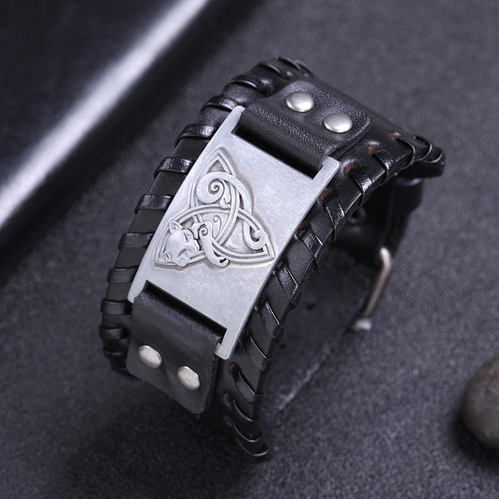 Teamer Black Wide Leather Fox Wicca Bracelet Amulet Silver Color/bronze/copper Charm Pentagram Magic Amulet Jewelry