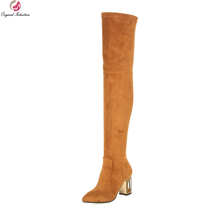 Original Intention Elegant Women Over-the-Knee Boots Fashion Pointed Toe Square Heels Boots Shoes Woman Plus US Size 3-10.5Original Intention Elegant Women Over-the-Knee Boots Fashion Pointed Toe Square Heels Boots Shoes Woman Plus US Size 3-10.5