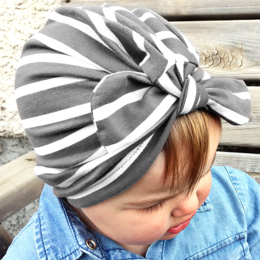 DreamShining Hot Sale Baby Hat Cute Bowknot Kids Girl Cap Beanie Striped Baby Turban For 1-6 Years Infant Hats Accessories