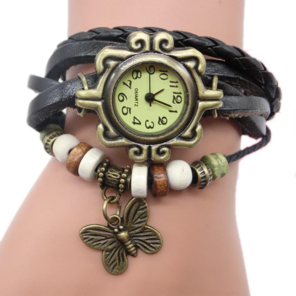 100% QualitäT Heißer Verkauf Billige Uhr Frauen Leder Armband Uhren Damen Weben Um Quarz Armbanduhr Frauen Vintage Stil Kleid Uhr Moderater Preis