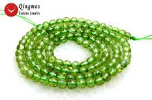 Qingmos натуральные 4 мм круглые зеленые искусственные камни