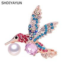 SHDIYAYUN 2019 New High Guality Pearl Brooch Rinestone Bird Brooch For Women Brooch Pins Natural Freshwater Pearl Jewelry Gift цена и фото