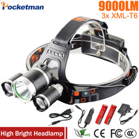 Z50 Led Headlight 9000 Lumen 3 T6 Headlamp 3x XM L T6 LED Head Lamp Flashlight
