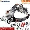 Z50 Led Headlight 9000 Lumen 3 T6 Headlamp 3x XM L T6 LED Head Lamp Flashlight