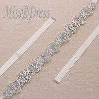 MissRDress Rhinestones 35.5inch Long Bridal Sash Belt Silver Crystal Pearls Wedding Belts Sash For Bridesmaids Dress JK866