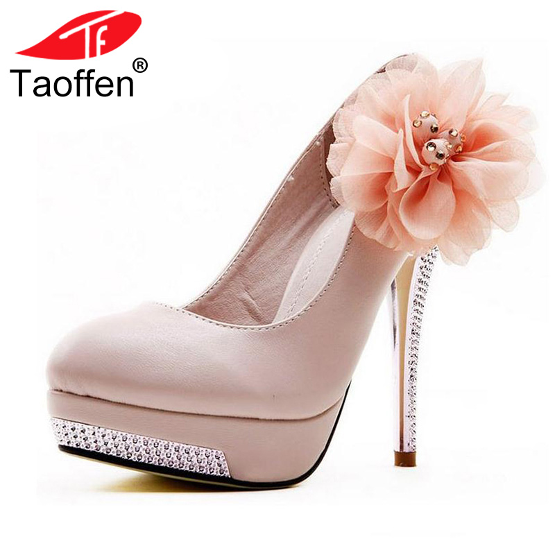 TAOFFEN Size 35-43 Women High Heel Shoes Wedding Bridal Flower Platform Heeled escarpin Lady Pumps Footwear Heels Shoes taoffen women stiletto high heel shoes pointed toe spring sweet footwear lady spring heeled pumps heels shoes size 34 47 p17515 page 3