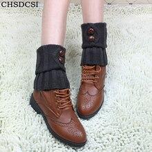 Leg-Socks Boot Cuffs Crochet Ankle-Knee Knitted Warm Women Button Winter Hot Short CHSDCSI