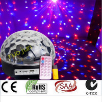 6x3W LED MP3 DJ Club Pub Disco Party Music Crystal Magic Ball Stage Effect Light With USB Disk Remote Control Free Shipping