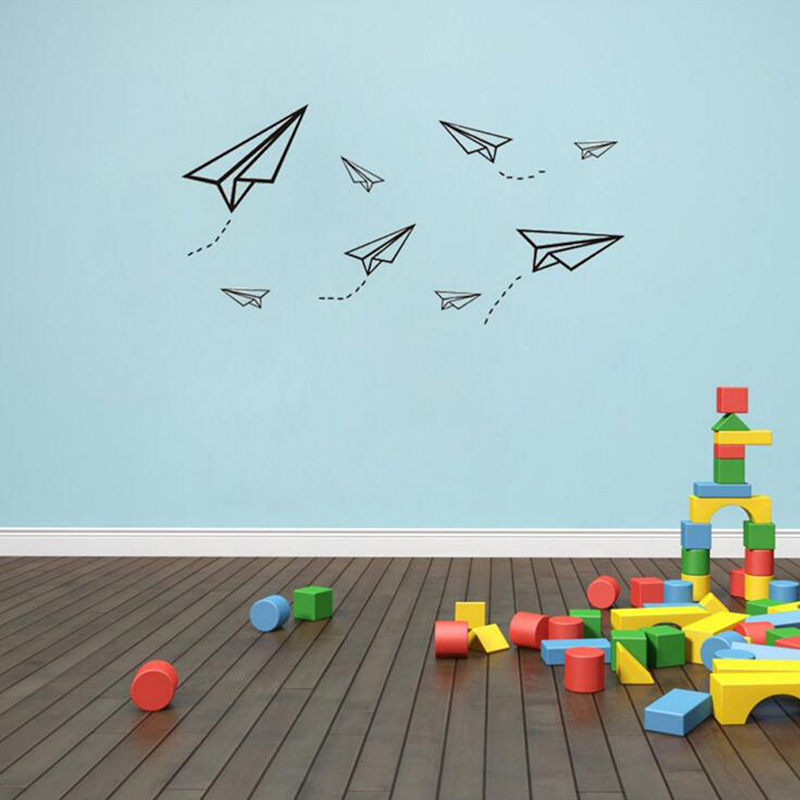 Creative Flying Paper Airplanes Wall Stickers Art Mural For Kids Room Teaching Room Decoration Airplane Wall Stickers